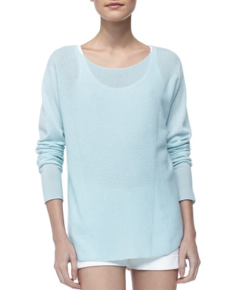 Long-Sleeve Cashmere Top, Aqua