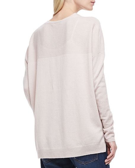 Long-Sleeve Cashmere Sweater, New Buff