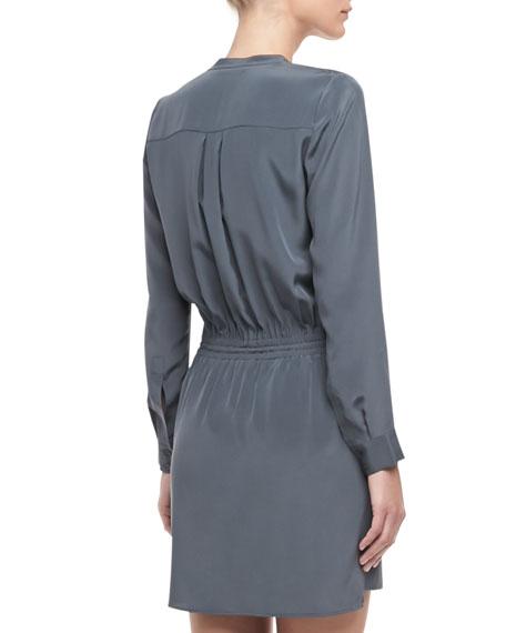 Silk Drawstring Shirtdress