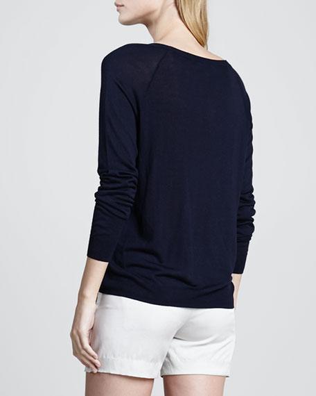 Mixed-Media Sweater with Raglan Sleeves