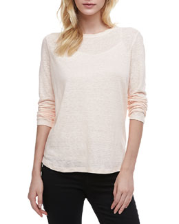 Vince Loose Long-Sleeve Tee, Peach