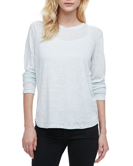 Loose Long-Sleeve Tee, Aqua