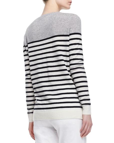 Colorblock Striped Cashmere Sweater, Steel/Black/White