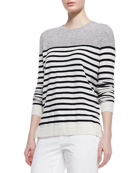 Colorblock Striped Cashmere Sweater, Steel/Black/White