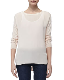 Vince Mixed-Fabric Long-Sleeve Sweater, Blossom