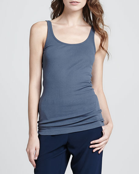 Ribbed Favorite Tank, Hickory Blue