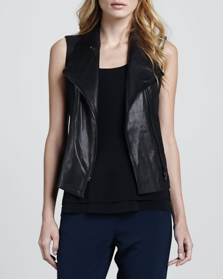 Leather-Front Twill Vest
