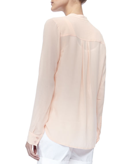 Long-Sleeve Crepe Shirt