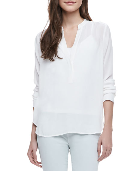 Long-Sleeve Crepe Blouse