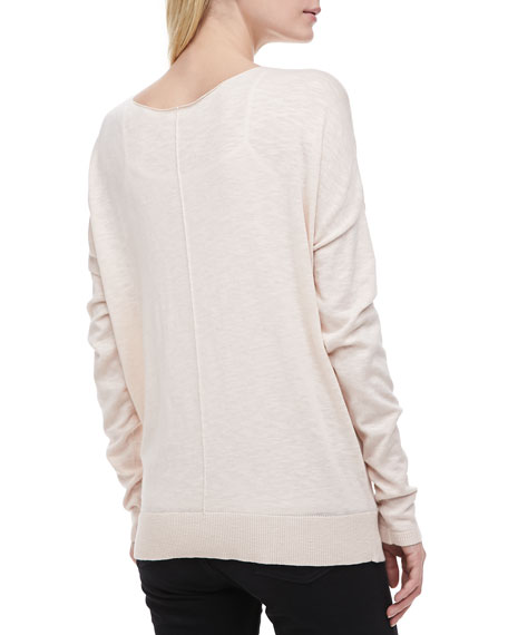 Cotton Slub Rib-Trim Sweatshirt, Blossom