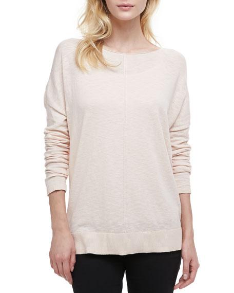 Cotton Slub Rib-Trim Sweatshirt, Blossom