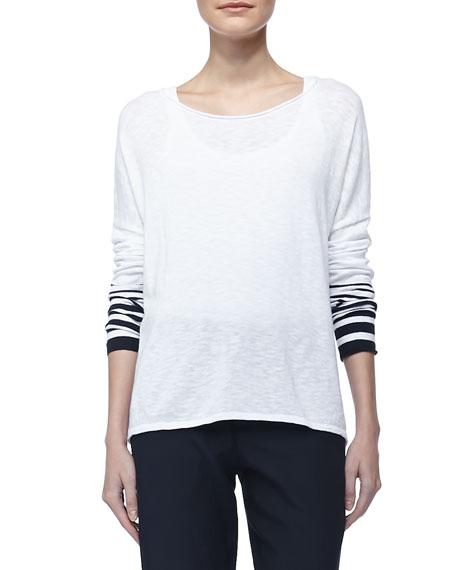 Stripe-Sleeve Slub Sweater