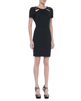 Halston Heritage Short-Sleeve Cutout Dress