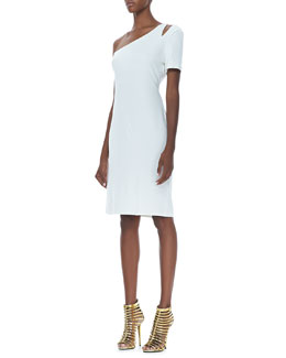 Halston Heritage Single-Sleeve Crepe Dress, Off White