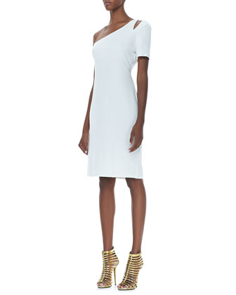 Single-Sleeve Crepe Dress, Off White