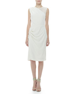Halston Heritage Sleeveless Sheer-Panel Dress