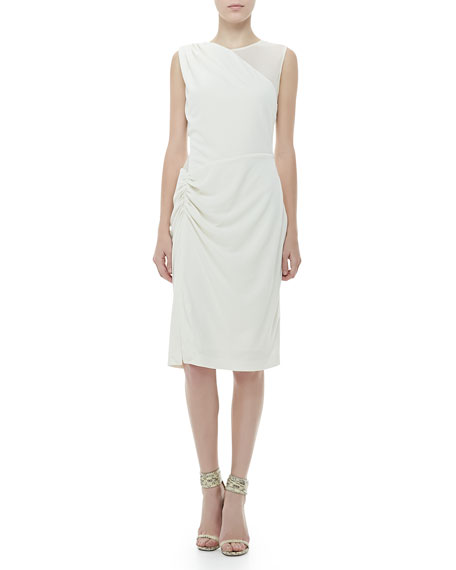 Sleeveless Sheer-Panel Dress