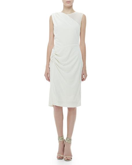 Sleeveless Sheer-Panel Dress