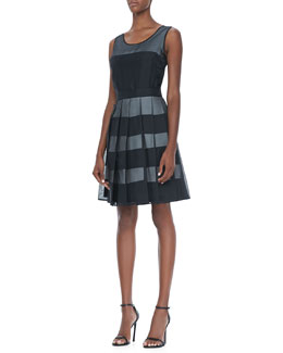 Halston Heritage Organza-Overlay Striped Dress