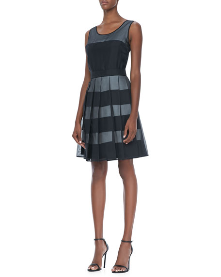 Organza-Overlay Striped Dress