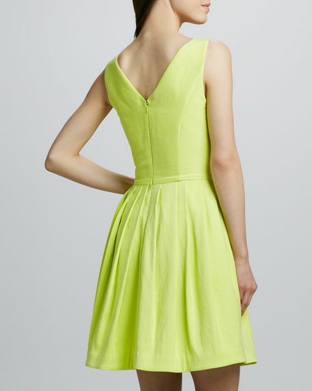 V-Neck Full-Skirt Dress, Lemonade