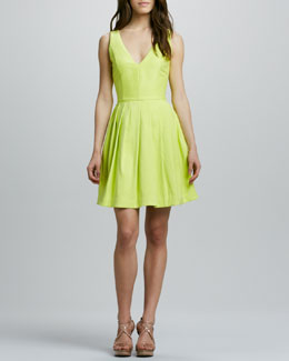 Halston Heritage V-Neck Full-Skirt Dress, Lemonade
