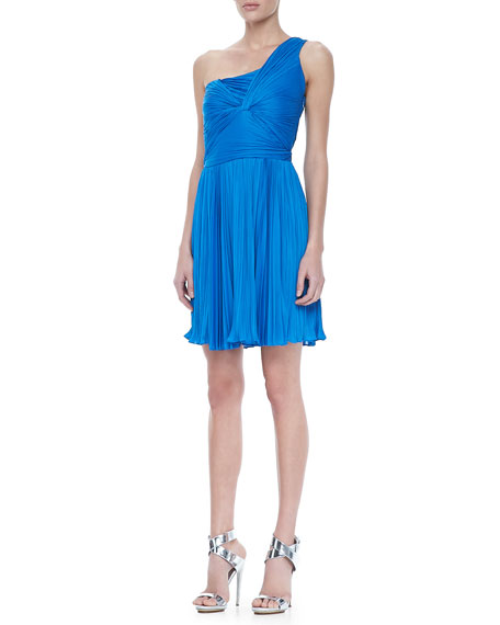 Ruched One-Shoulder Dress, Aquamarine