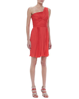 Halston Heritage Ruched One-Shoulder Dress, Poppy