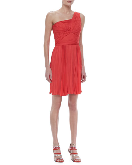 Ruched One-Shoulder Dress, Poppy