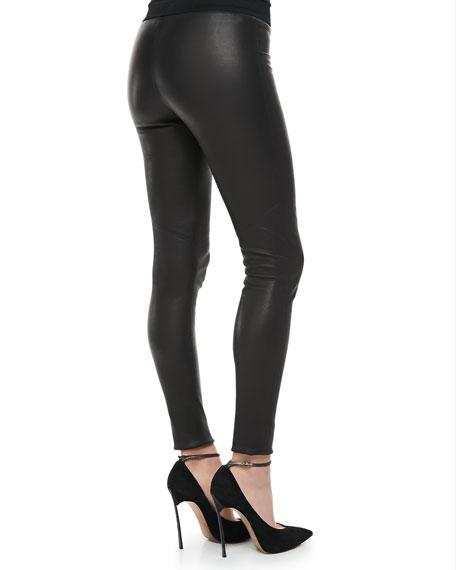 Raven Knit-Waist Leather Leggings