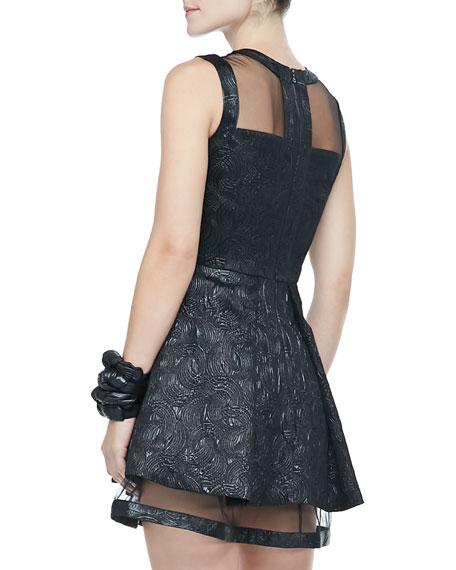 Valli Textured Sheer-Trim Dress