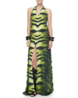 Alexis Claudia Zebra-Print Halter Dress