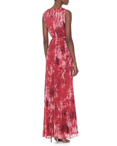 Printed Pleated Chiffon Gown