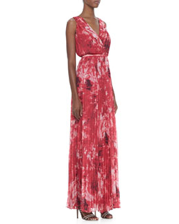 Halston Heritage Printed Pleated Chiffon Gown
