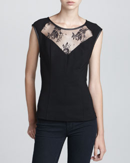 Robbi & Nikki Seamed Lace-Inset Top