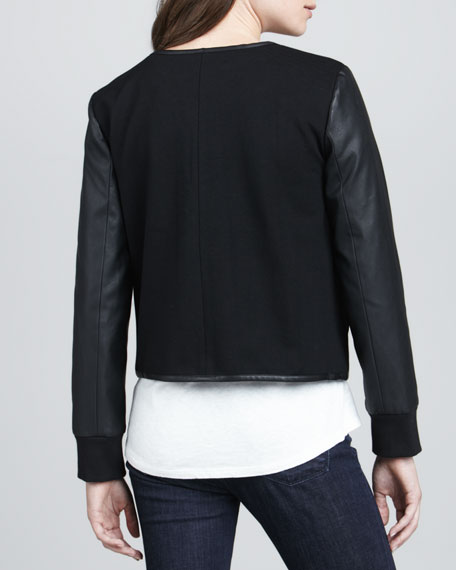 Studded Combo Biker Jacket