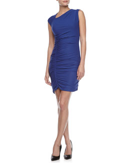 Halston Heritage Asymmetric Ruched Fitted Dress, Ultramarine