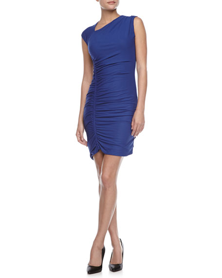 Asymmetric Ruched Fitted Dress, Ultramarine
