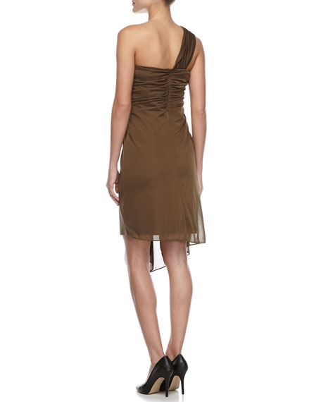Ponte Dress with Draped Overlay, Fatigue