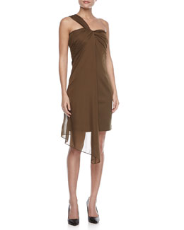 Halston Heritage Ponte Dress with Draped Overlay, Fatigue