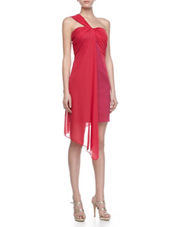 Halston Heritage Ponte Dress with Draped Overlay, Raspberry