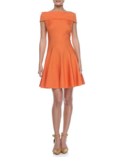 Halston Heritage Off-The-Shoulder Ponte Dress, Flame