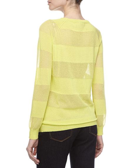 Sheer-Striped Jersey Sweater, Lemonade