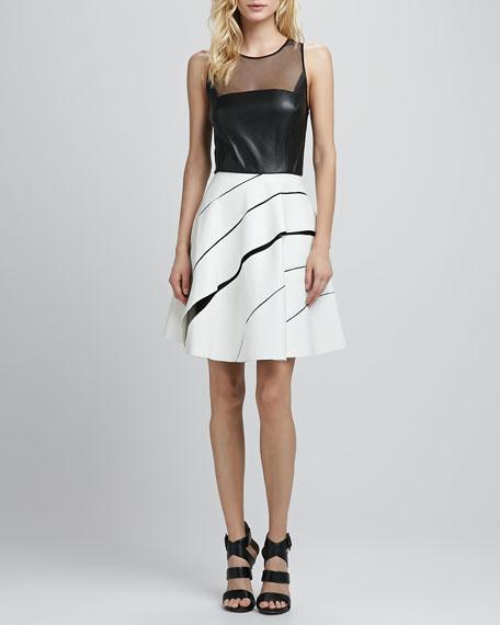 Zoe Faux-Leather Combo Dress