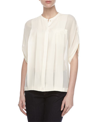 Pleated Silk Sheer Blouse, Cream
