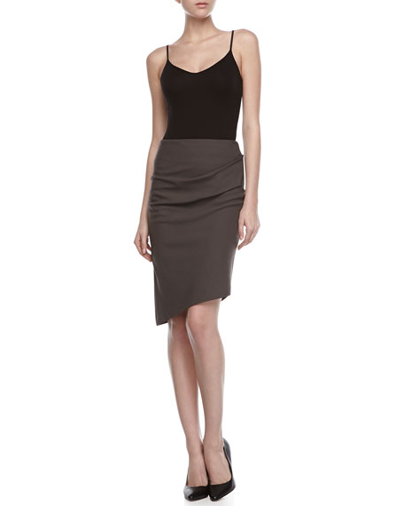 Draped Waist Asymmetric Pencil Skirt