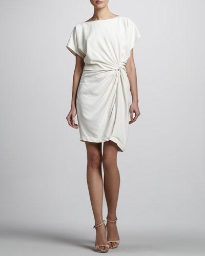 Halston Heritage Twisted-Front Short-Sleeve Dress