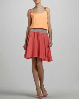 Halston Heritage Tie-Shoulder Colorblock Dress