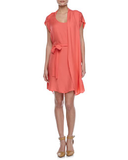 Halston Heritage Self-Tie Waist Dress with Scarf, Guava