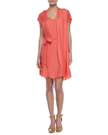 Self-Tie Waist Dress with Scarf, Guava